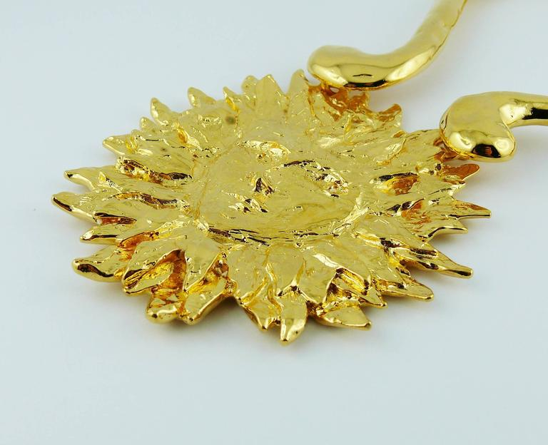 Yves Saint Laurent YSL Robert Goossens Vintage Rare Sun Face Chocker Necklace 5
