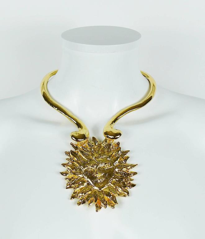 Yves Saint Laurent YSL Robert Goossens Vintage Rare Sun Face Chocker Necklace 2