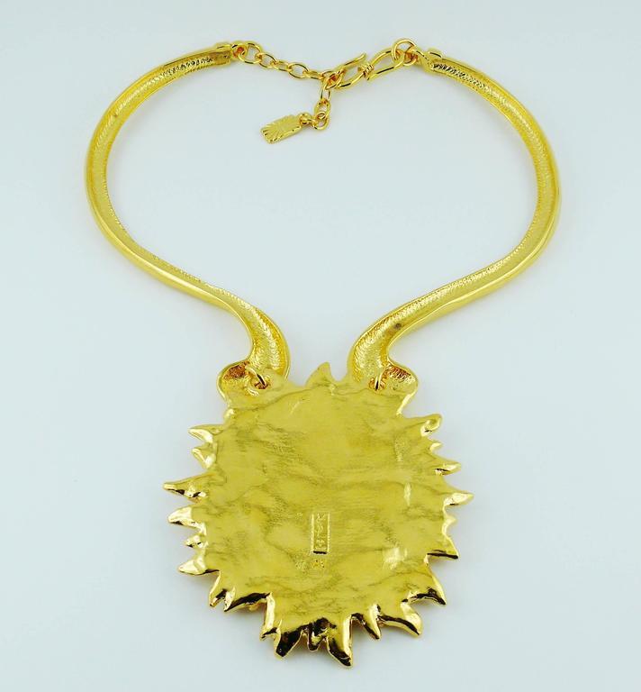 Yves Saint Laurent YSL Robert Goossens Vintage Rare Sun Face Chocker Necklace 8