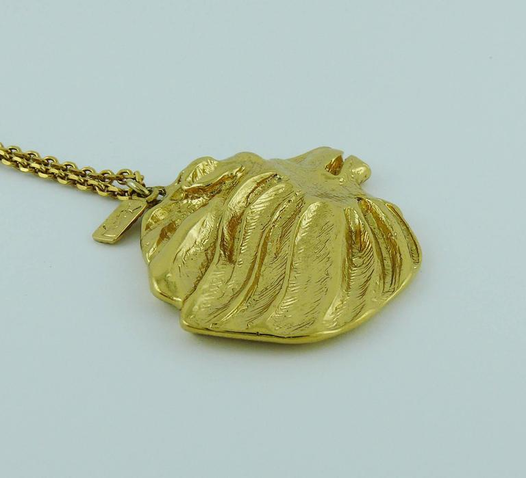 Yves Saint Laurent Ysl Vintage Gold Toned Lion Pendant