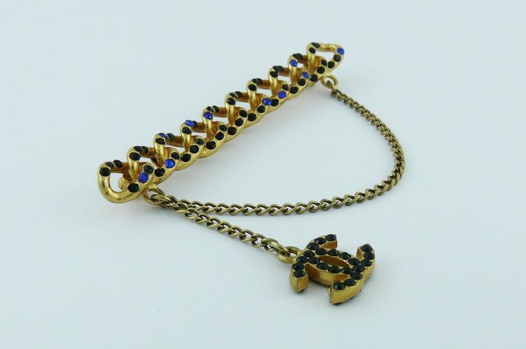 Chanel Jewelled Chain Brooch CC Charm Fall 2001 2