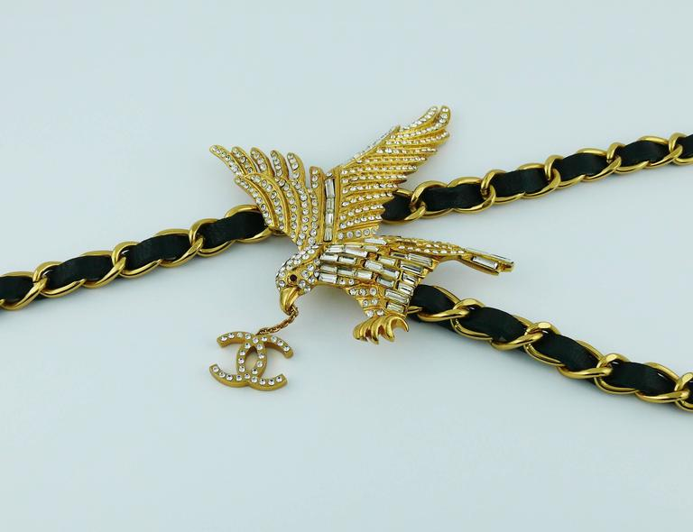 Beige Chanel Rare Jewelled Eagle Black and Gold Runway Belt or Necklace For Sale