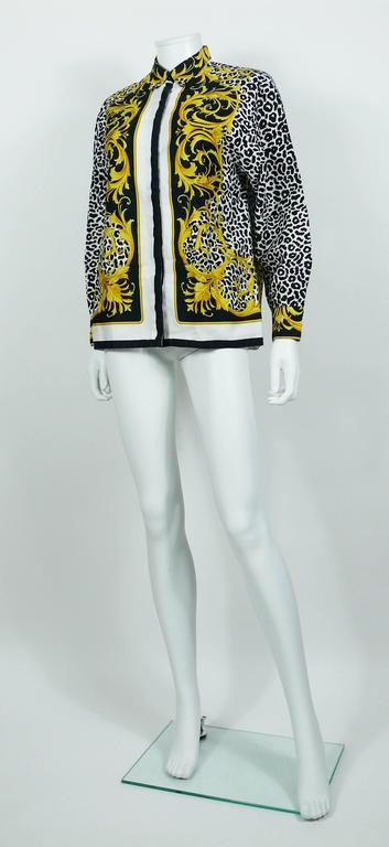 daa9b07901a4 Women's or Men's Versace Classic V2 Vintage Baroque Leopard Print Cotton  Shirt Unisex Size 42 For