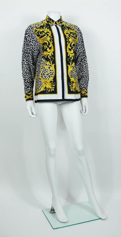 e3d26bd3acaf Beige Versace Classic V2 Vintage Baroque Leopard Print Cotton Shirt Unisex  Size 42 For Sale