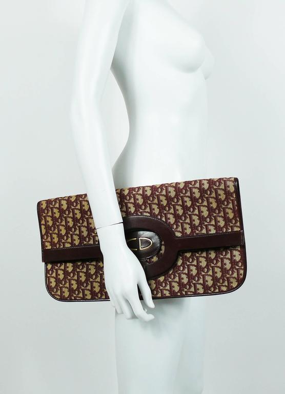 Christian Dior Vintage Burgundy Monogram Iconic Canvas Bag 3