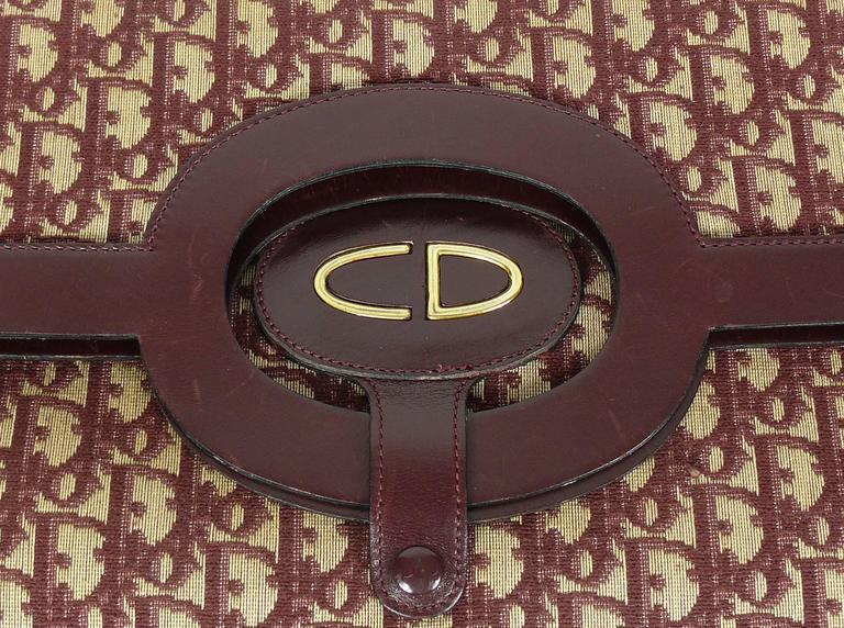 Christian Dior Vintage Burgundy Monogram Iconic Canvas Bag 6