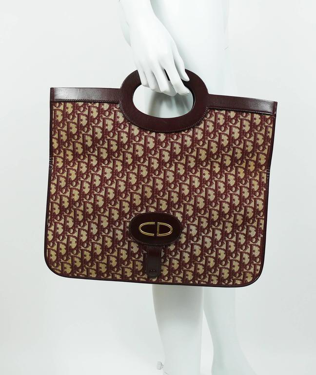 Christian Dior Vintage Burgundy Monogram Iconic Canvas Bag 5