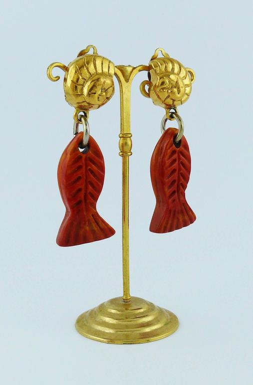 Yves Saint Laurent YSL Vintage Sea Life Dangling Earrings In Excellent Condition For Sale In French Riviera, FR