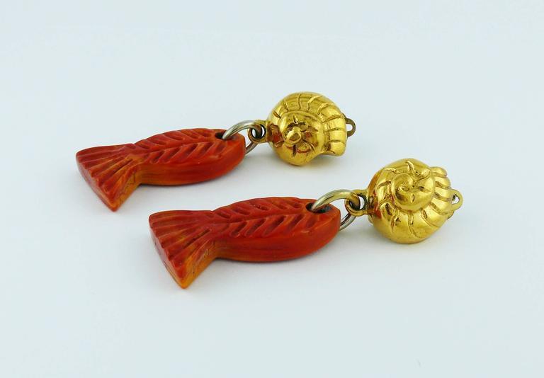 Yves Saint Laurent YSL Vintage Sea Life Dangling Earrings 5