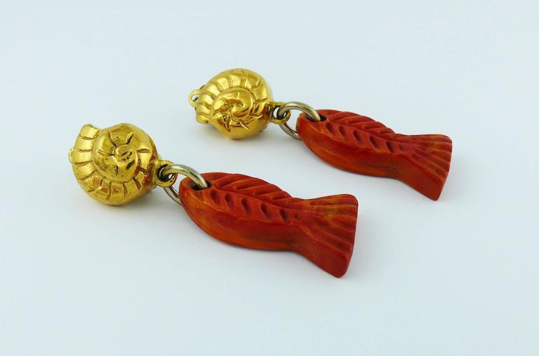 Yves Saint Laurent YSL Vintage Sea Life Dangling Earrings 6