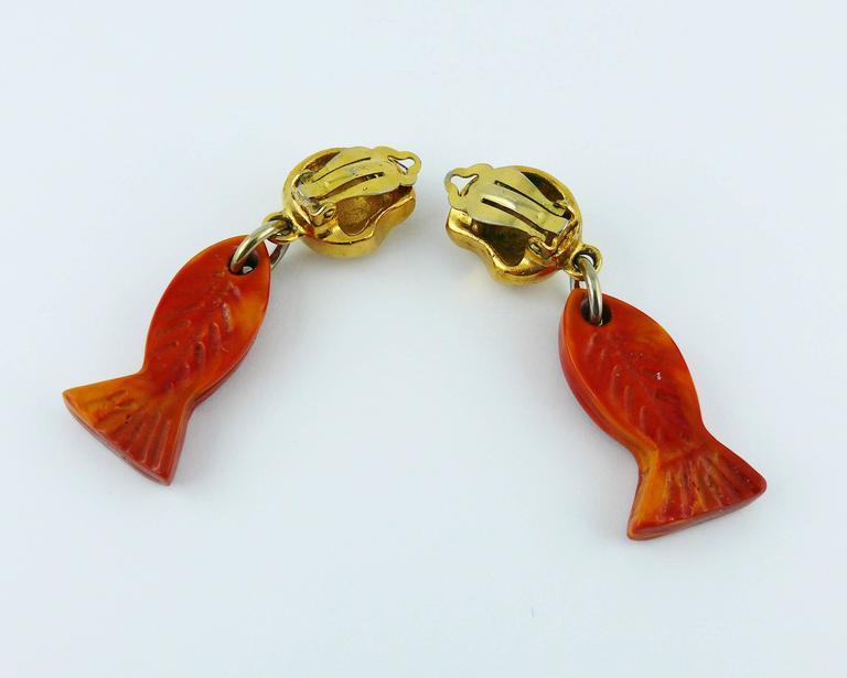 Yves Saint Laurent YSL Vintage Sea Life Dangling Earrings 7