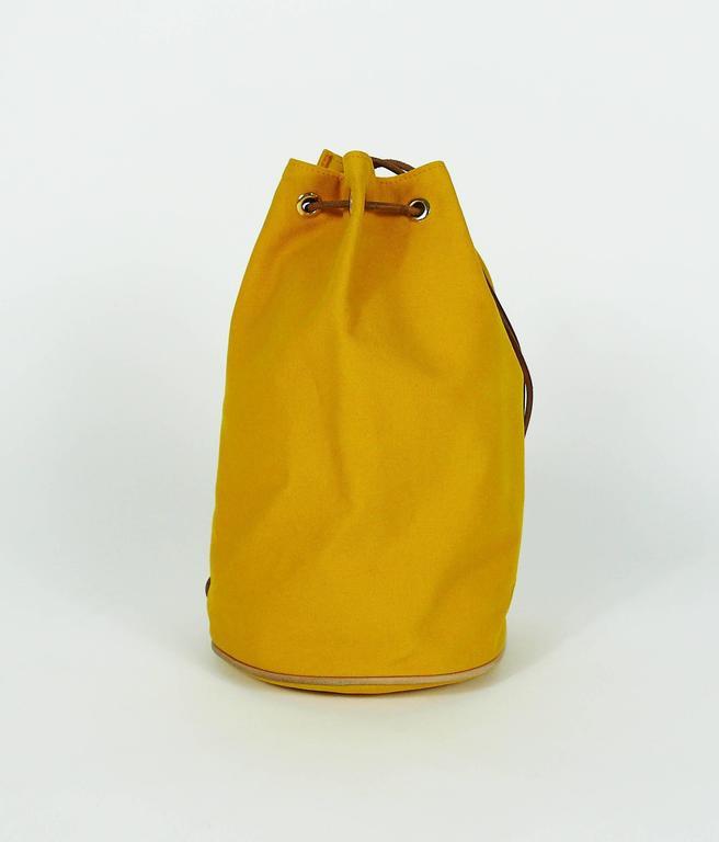 Hermès Vintage Saffron Yellow Sac Polochon Bag In Good Condition For Sale In French Riviera, Cote d'Azur