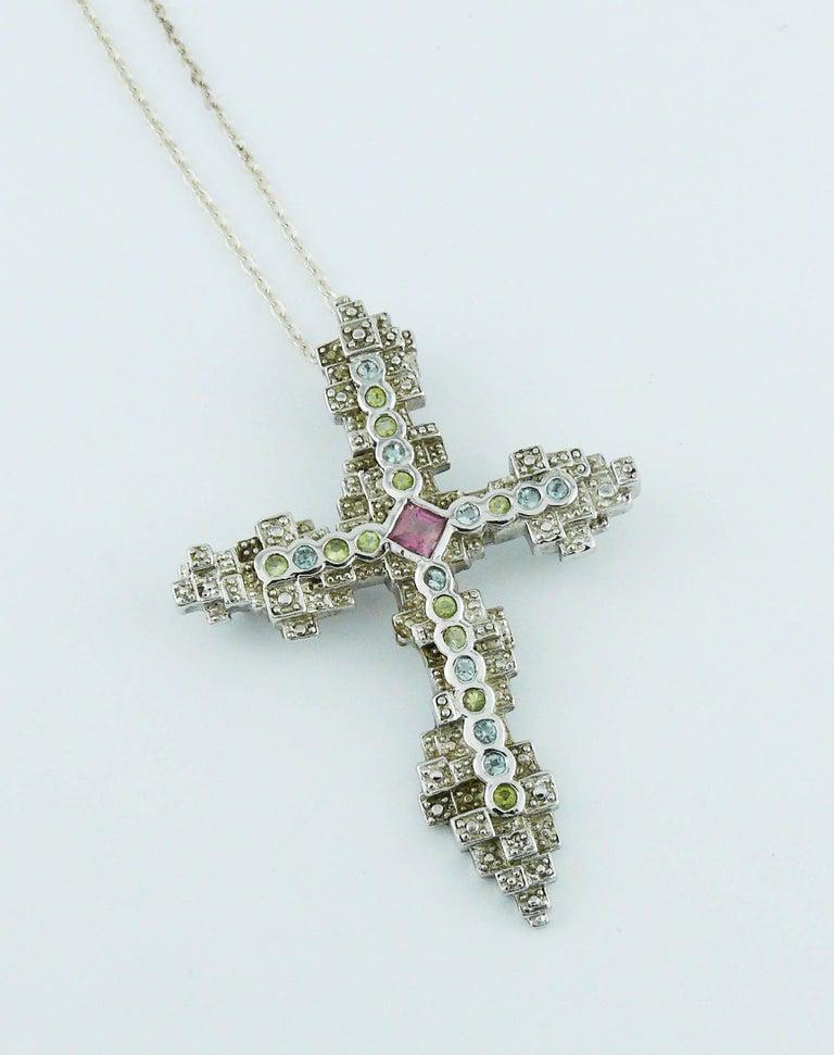 Women's Christian Lacroix Jewelled Sterling Silver Cross Pendant Brooch