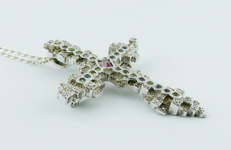 Christian Lacroix Jewelled Sterling Silver Cross Pendant Brooch In Excellent Condition In Nice, FR