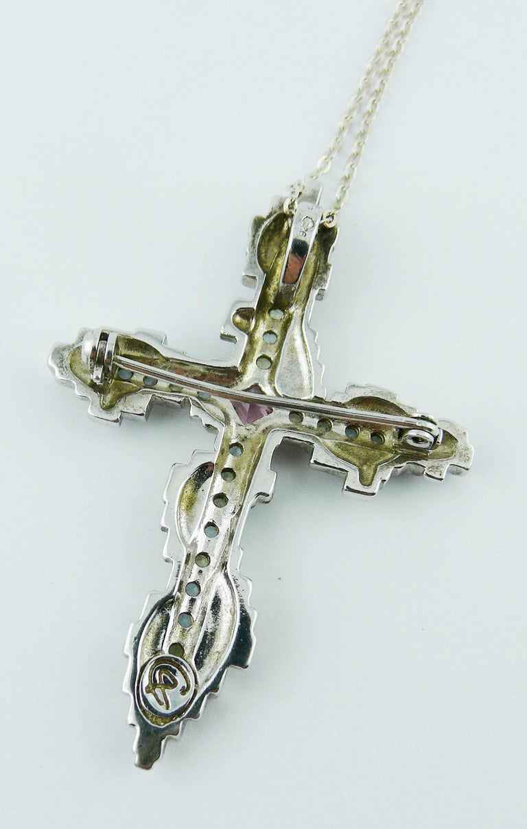Christian Lacroix Jewelled Sterling Silver Cross Pendant Brooch 2