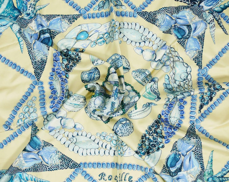 "Hermes Silk Carre Scarf ""Rocaille"" by Valerie Dawlat-Dumoulin In Excellent Condition For Sale In French Riviera, Cote d'Azur"