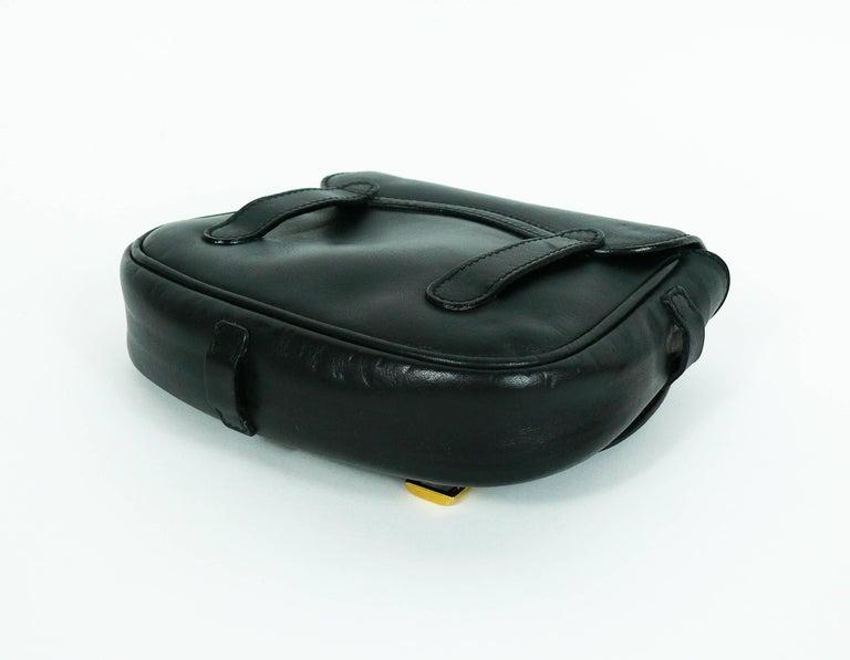 Gucci Belt Serial Number >> Gucci Vintage Convertible Black Leather Saddle Bag Belt at 1stdibs
