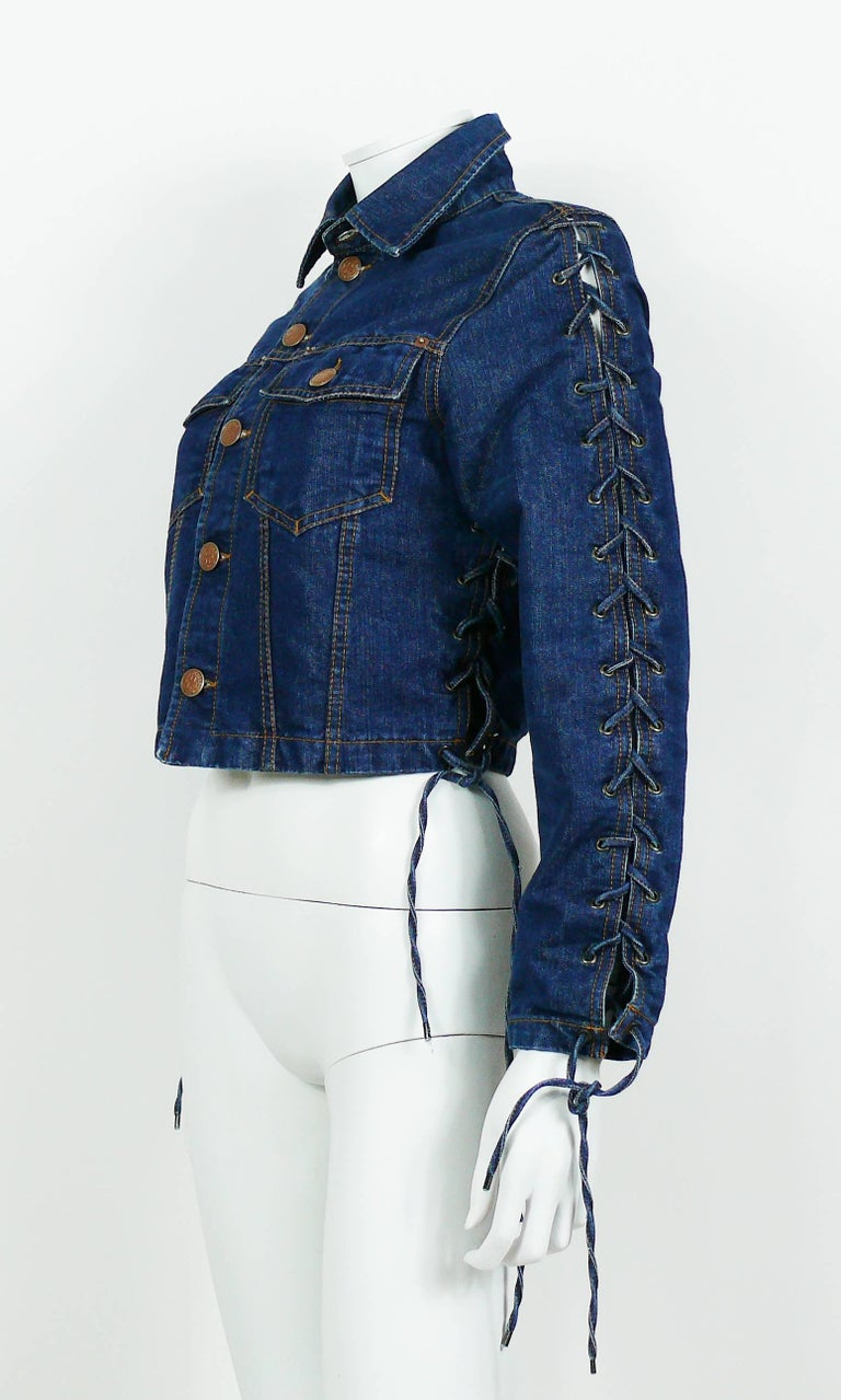 Jean Paul Gaultier Vintage Laced Denim Cropped Jacket In Excellent Condition For Sale In French Riviera, Nice