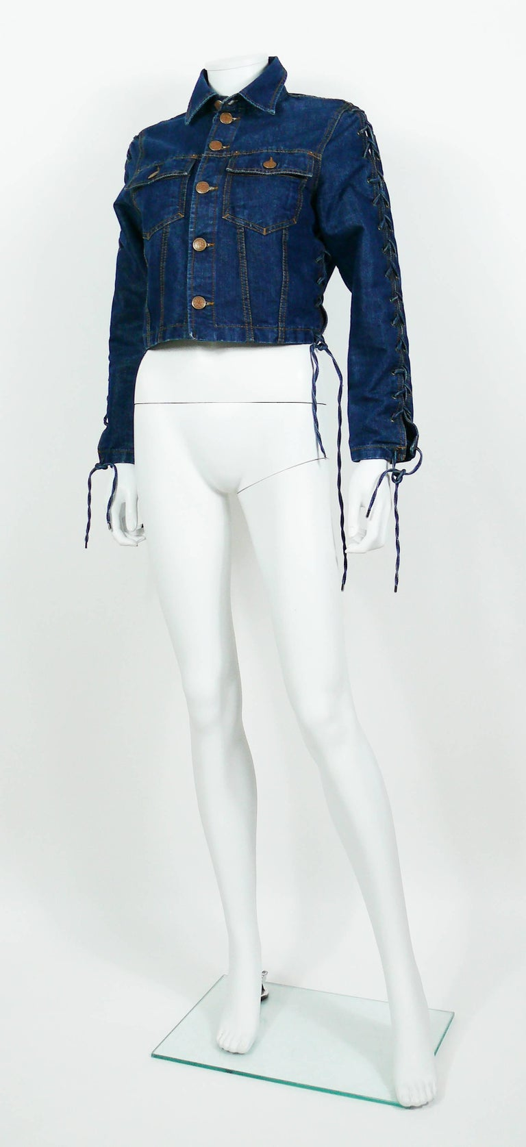 Jean Paul Gaultier Vintage Laced Denim Cropped Jacket For Sale 1