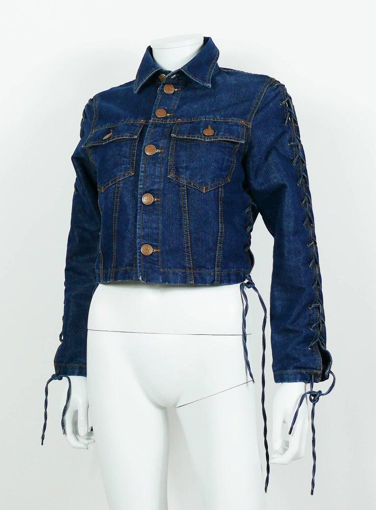 Women's Jean Paul Gaultier Vintage Laced Denim Cropped Jacket For Sale