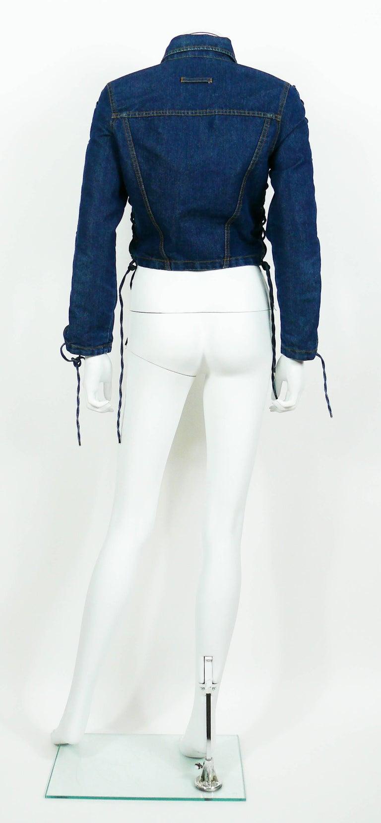 Jean Paul Gaultier Vintage Laced Denim Cropped Jacket For Sale 2