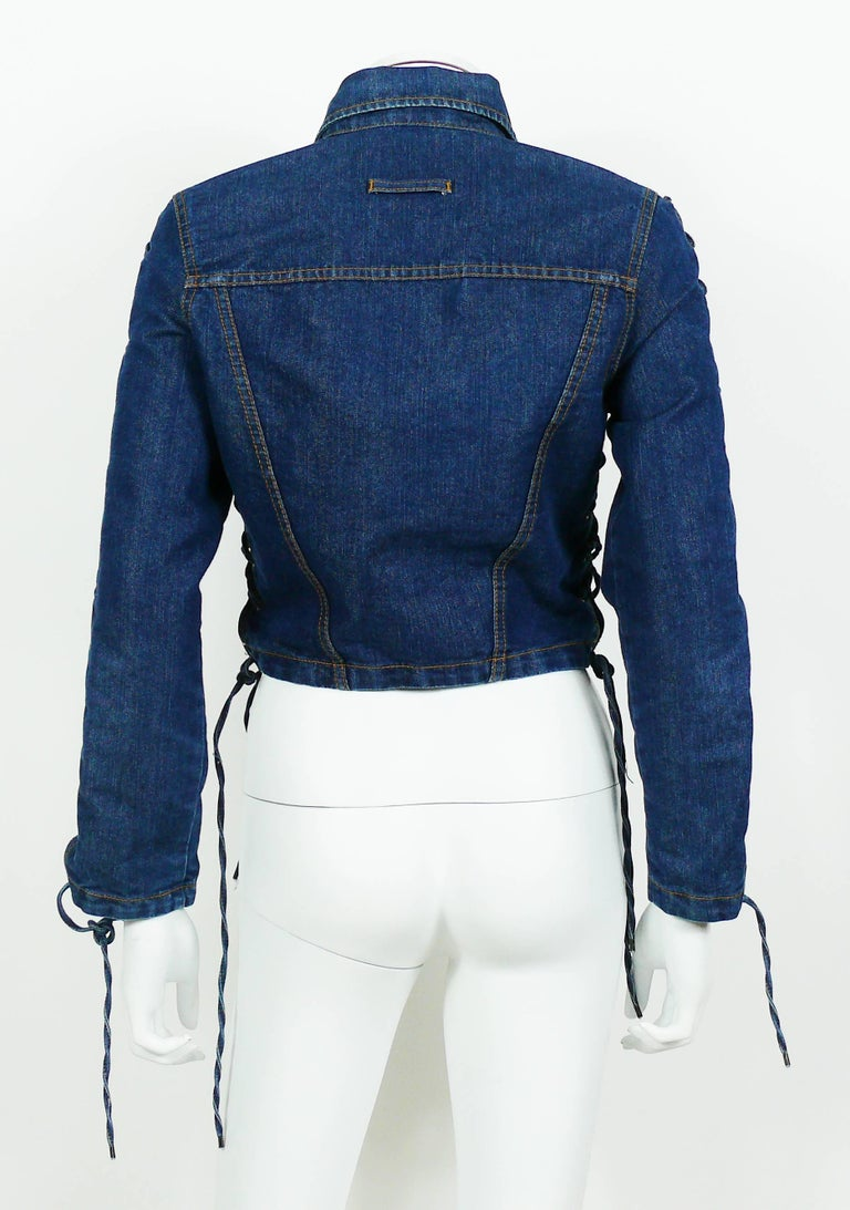 Jean Paul Gaultier Vintage Laced Denim Cropped Jacket For Sale 3