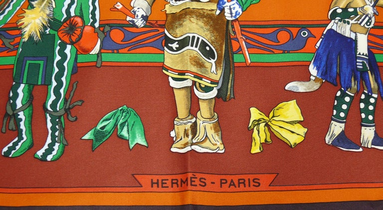 Women's Hermes Vintage Rare Iconic Silk Carre Scarf Kachinas by Kermit Oliver For Sale