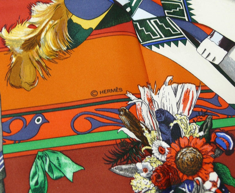 Hermes Vintage Rare Iconic Silk Carre Scarf Kachinas by Kermit Oliver For Sale 1