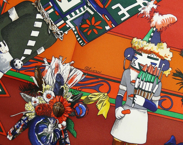 Hermes Vintage Rare Iconic Silk Carre Scarf Kachinas by Kermit Oliver For Sale 2