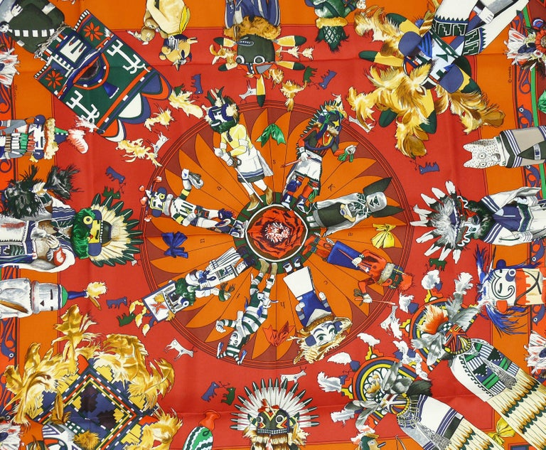 HERMES vintage rare iconic silk carre scarf Kachinas designed by native Texan KERMIT OLIVER in gorgeous vibrant colorway.  This scarf depicts ceremonial spirit dancers according to western Pueblo religious beliefs.  This scarf features : - Hand