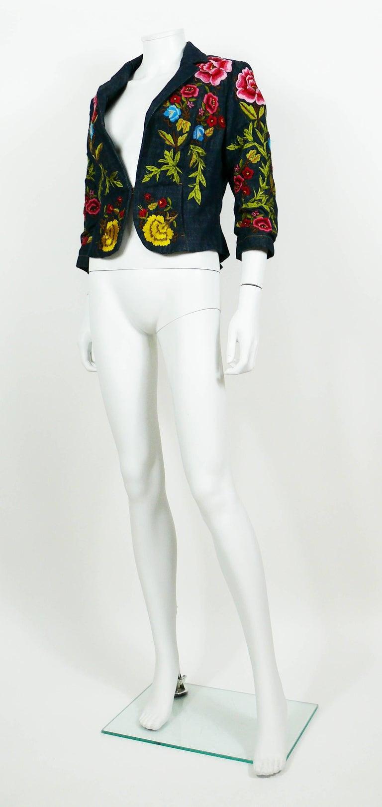 Christian lacroix vintage embroidered denim blazer at stdibs