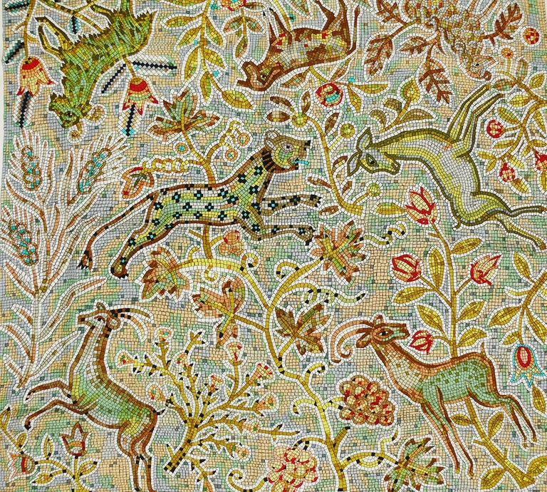 "HERMES rare silk carre scarf ""PAVEMENT"" designed by MAURICE TRANCHANT featuring flora and fauna in a mosaic design.  This scarf features : - Hand rolled borders. - Plump hems. - 100 % silk. - Composition and care tag attached.  Marked ©"
