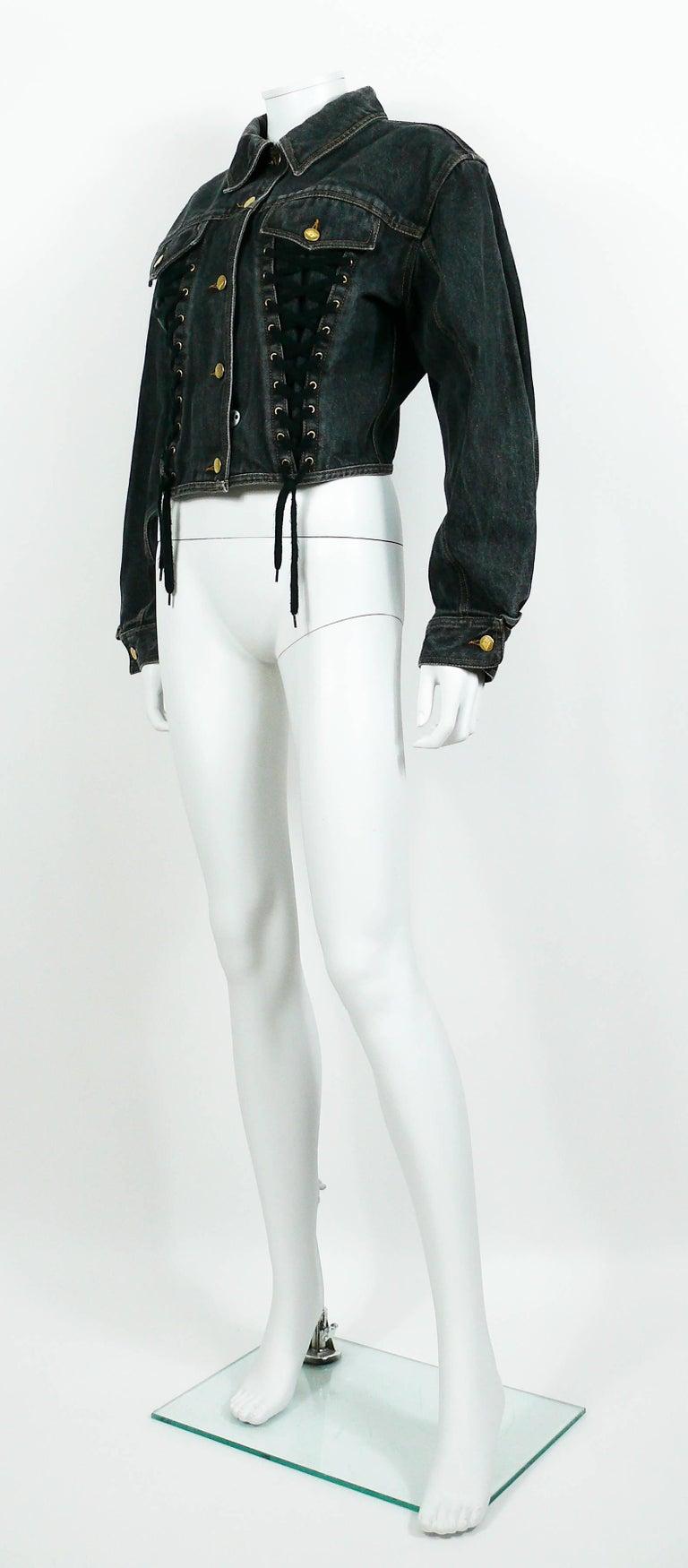 Jean Paul Gaultier Junior Vintage Black Denim Iconic Corset Style Jacket For Sale 2
