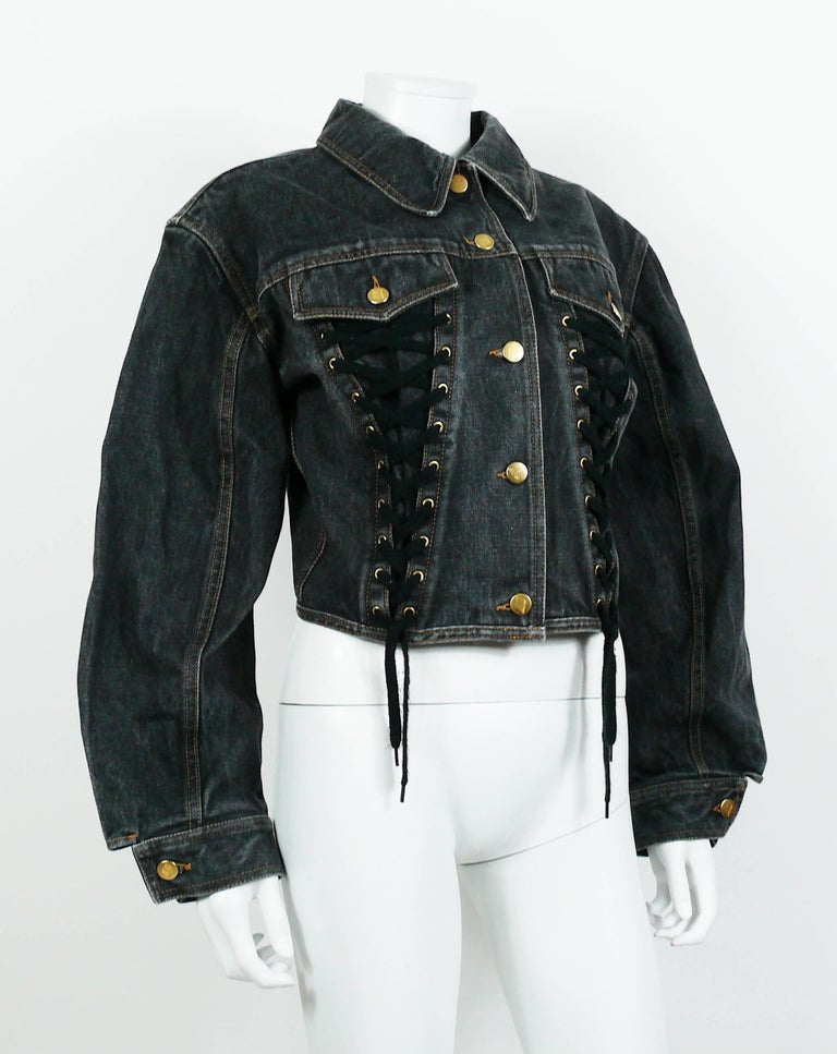 Jean Paul Gaultier Junior Vintage Black Denim Iconic Corset Style Jacket In Good Condition For Sale In French Riviera, Nice
