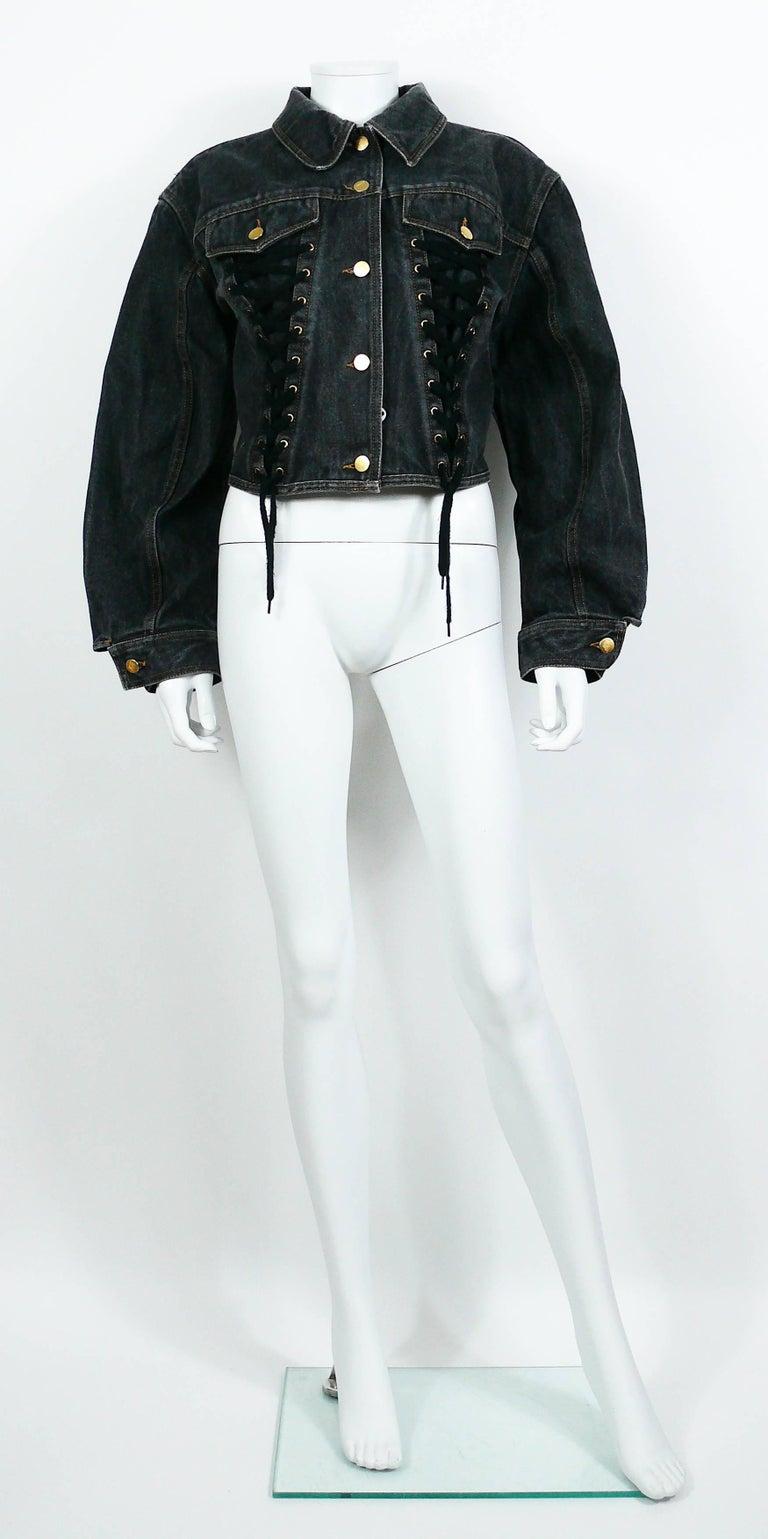 Women's Jean Paul Gaultier Junior Vintage Black Denim Iconic Corset Style Jacket For Sale