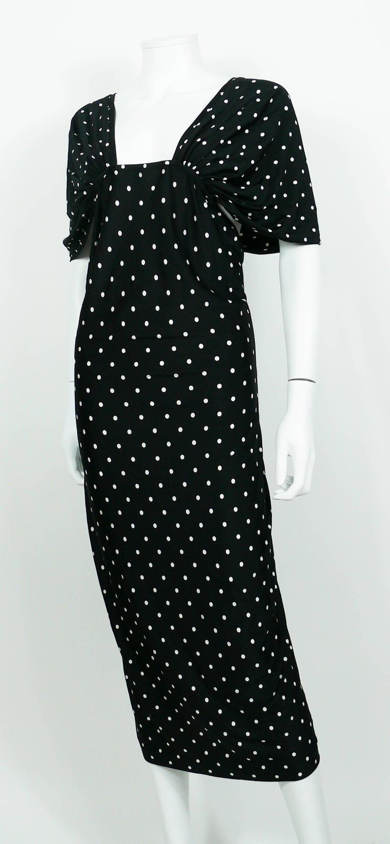 Patrick Kelly Vintage Black White Polka Dot Dress US Size 10 For Sale 1
