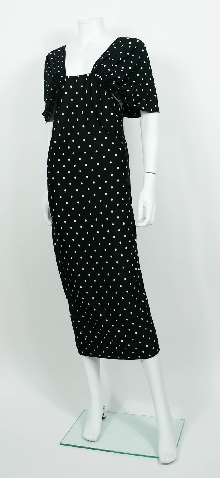Patrick Kelly Vintage Black White Polka Dot Dress US Size 10 For Sale 2