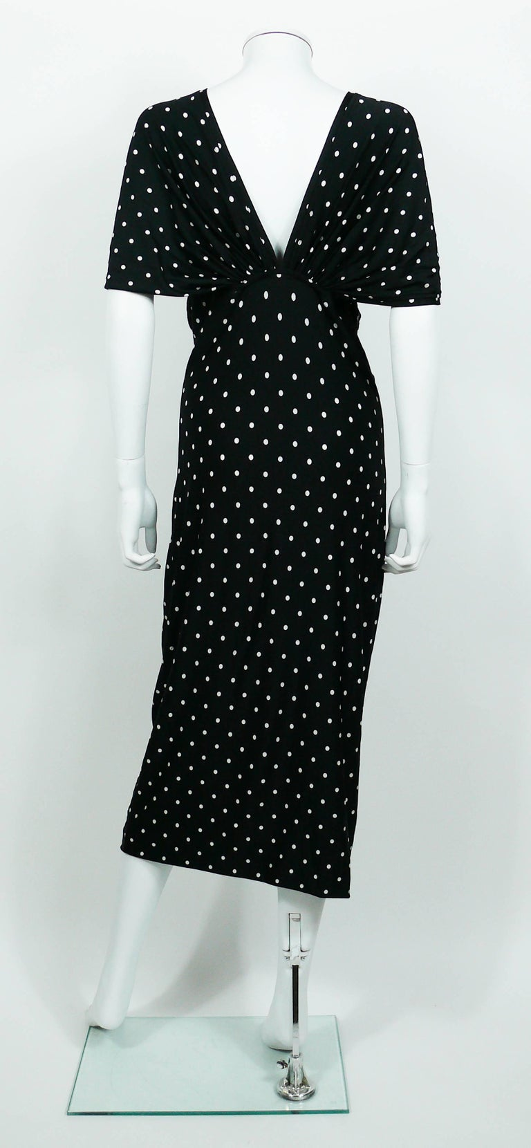Patrick Kelly Vintage Black White Polka Dot Dress US Size 10 For Sale 4