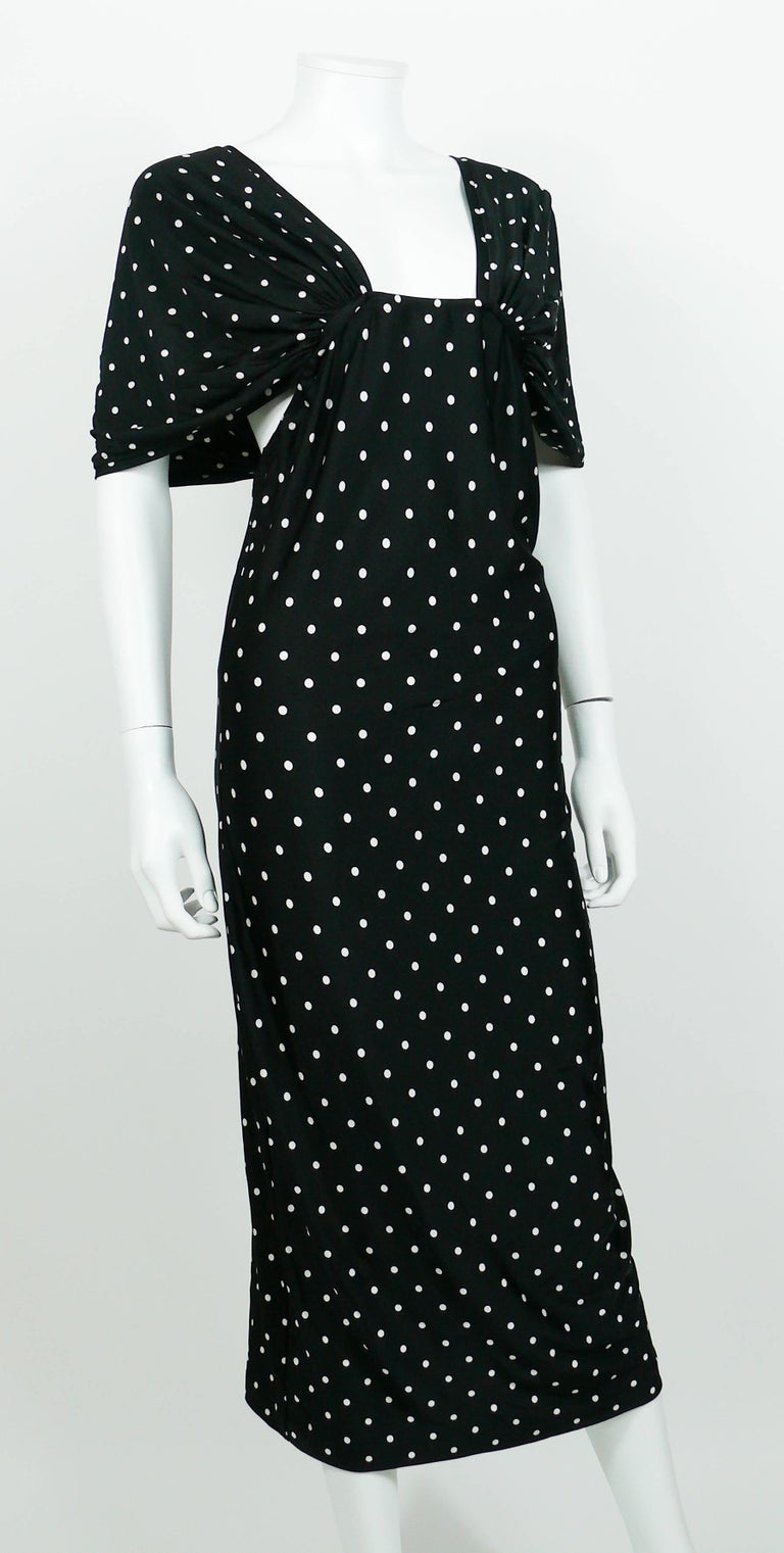 Patrick Kelly Vintage Black White Polka Dot Dress US Size 10 In Excellent Condition For Sale In French Riviera, Cote d'Azur