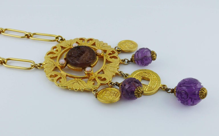 Cadoro Vintage Chinese Inspired Necklace In Excellent Condition For Sale In Nice, FR