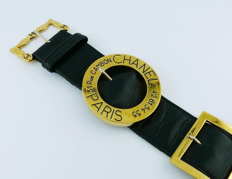 Chanel Vintage Black Leather Multi Buckle Belt For Sale 3