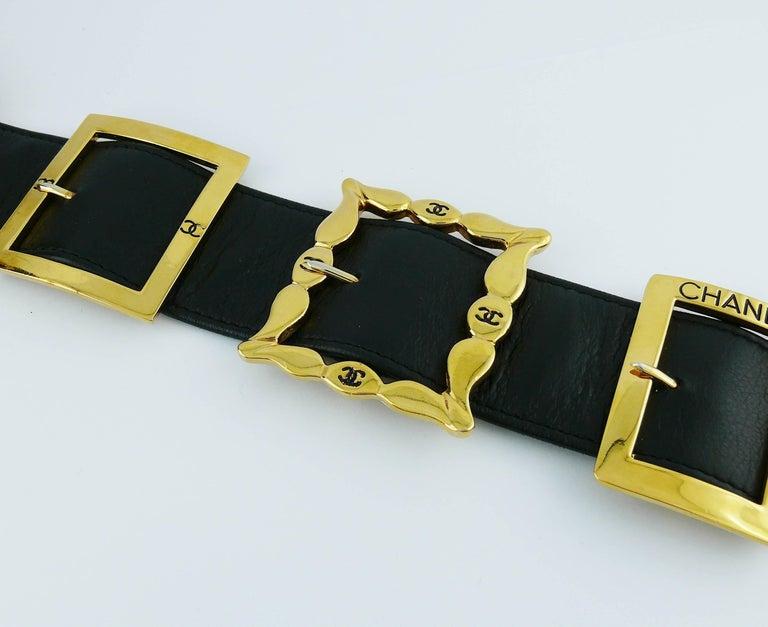 Chanel Vintage Black Leather Multi Buckle Belt For Sale 1