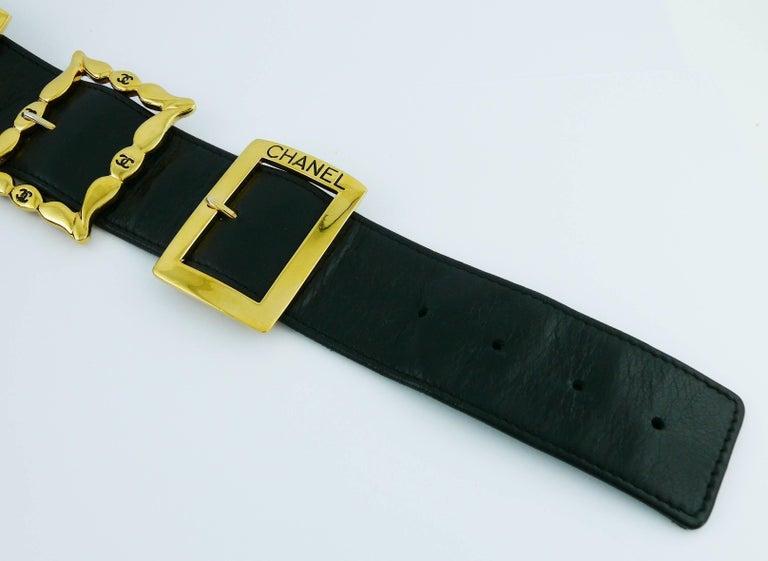 Chanel Vintage Black Leather Multi Buckle Belt For Sale 4