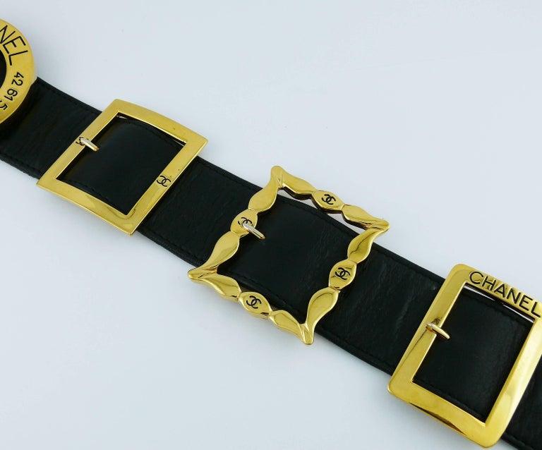 Women's Chanel Vintage Black Leather Multi Buckle Belt For Sale