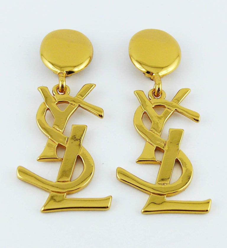 Yves Saint Laurent YSL Vintage Massive Iconic Logo Dangling Earrings In Excellent Condition For Sale In French Riviera, Nice