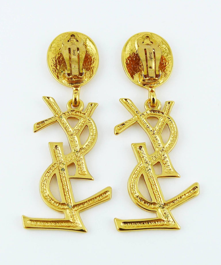 Yves Saint Laurent YSL Vintage Massive Iconic Logo Dangling Earrings For Sale 1