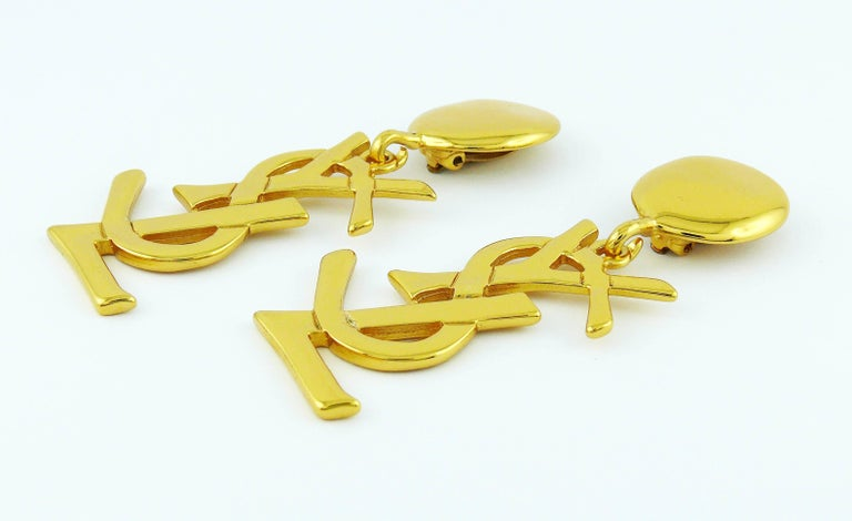 Women's Yves Saint Laurent YSL Vintage Massive Iconic Logo Dangling Earrings For Sale