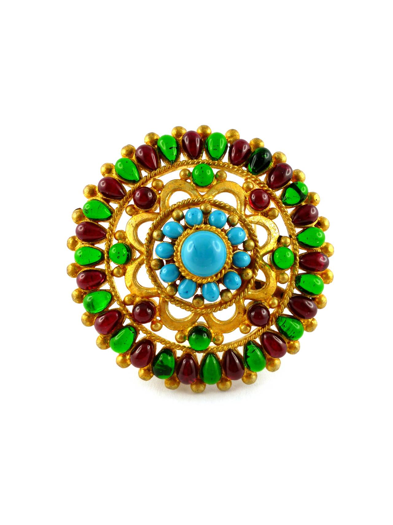 CHANEL massive opulent Mughal brooch and pendant.  Openwork matte gold tone metal embellished with faux precious stone pate de verre GRIPOIX cabochons : turquoise, ruby and emerald.  Fall 1993 Collection.  Stamped CHANEL 93 A Made in France. Private