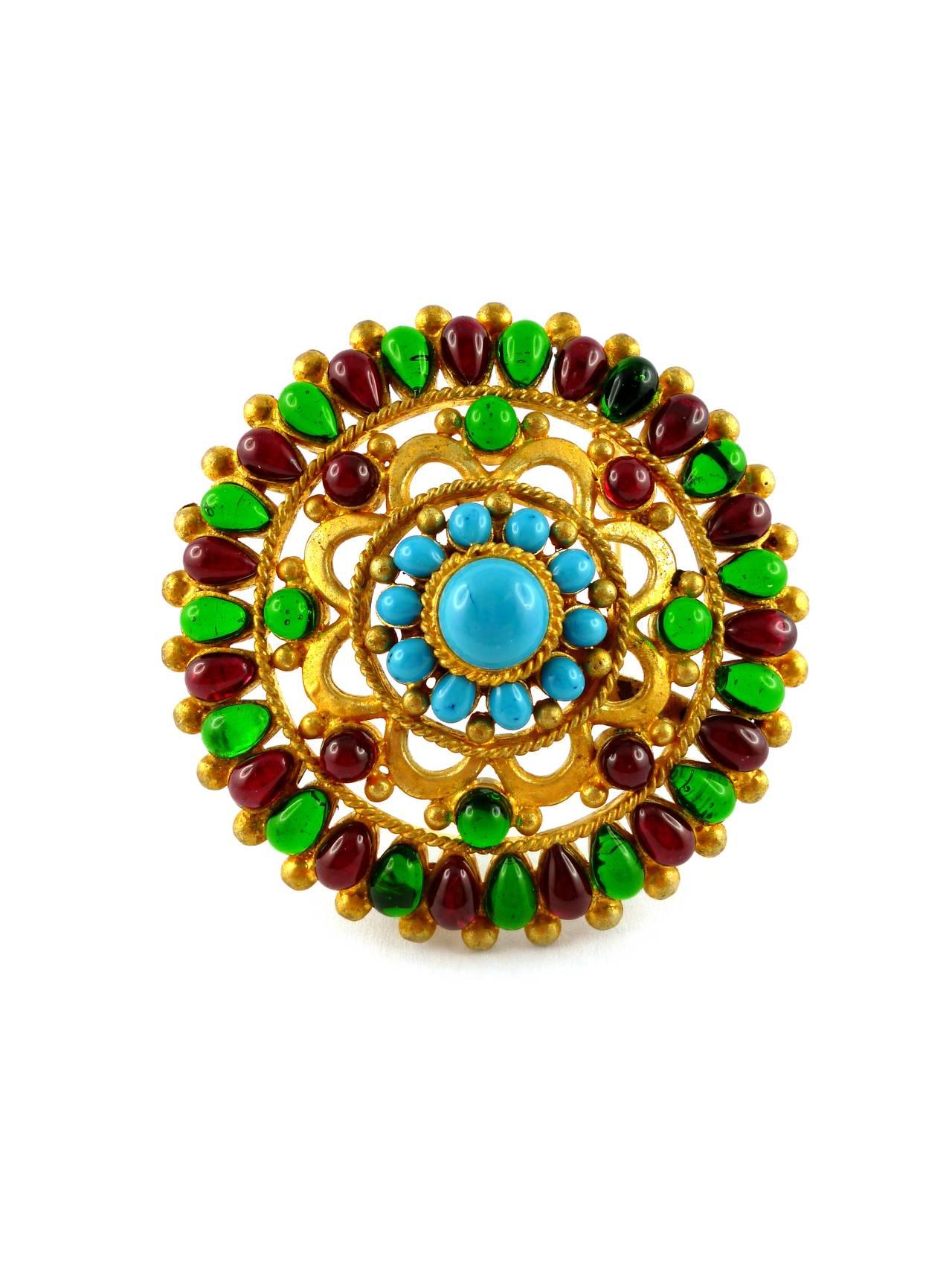 Chanel Massive Gripoix Mughal Brooch Pendant Fall 1993 2