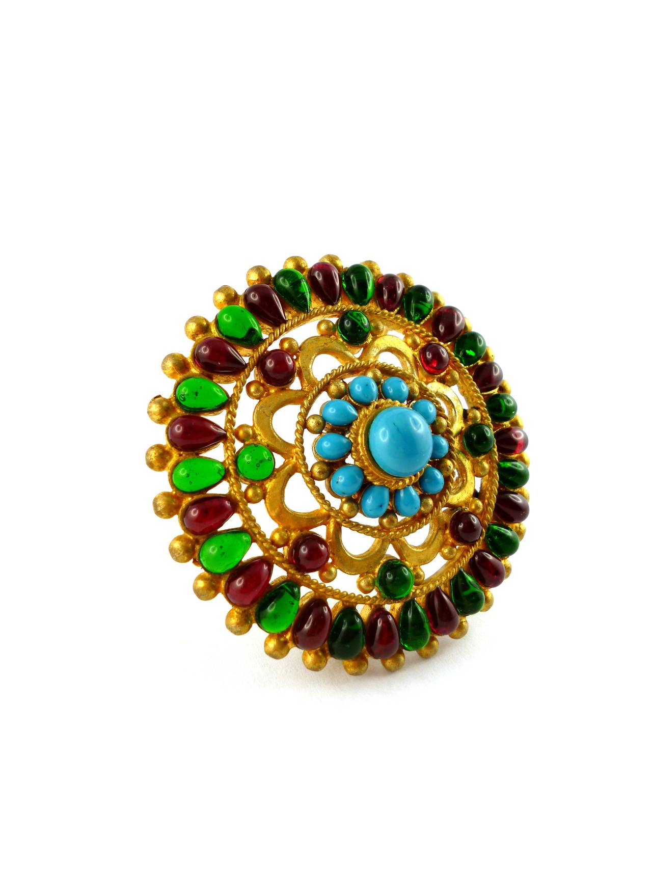 Chanel Massive Gripoix Mughal Brooch Pendant Fall 1993 In Good Condition For Sale In French Riviera, FR